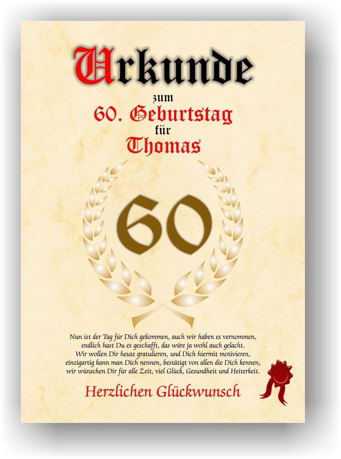 Urkunde Geburtstag 60 Jahre Geschenk Geschenkidee Spruch Lorbeerblatt  Namensdruck Gedicht Party Deko Bild Mit Namen Personalisiert