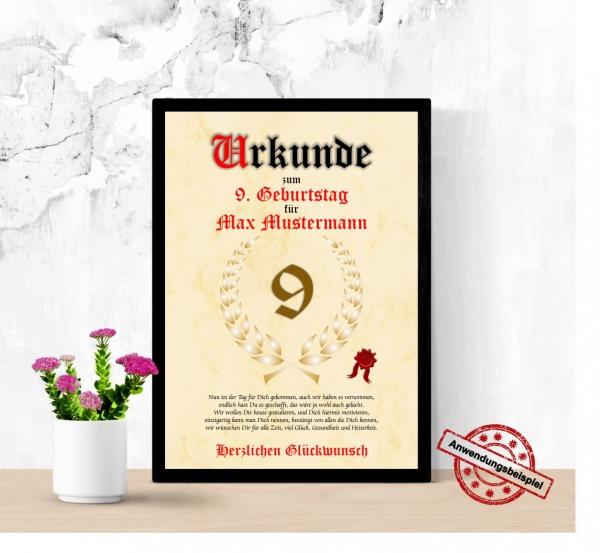 Druck Geschenk Urkunde Geschenkurkunde Zum 9 Geburtstag