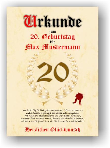 Druck Geschenk Urkunde Geschenkurkunde Zum 20 Geburtstag