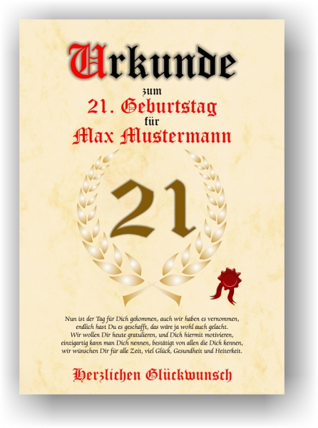 Druck Geschenk Urkunde Geschenkurkunde Zum 21 Geburtstag