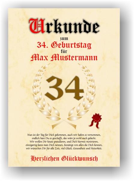 Druck Geschenk Urkunde Geschenkurkunde Zum 34 Geburtstag