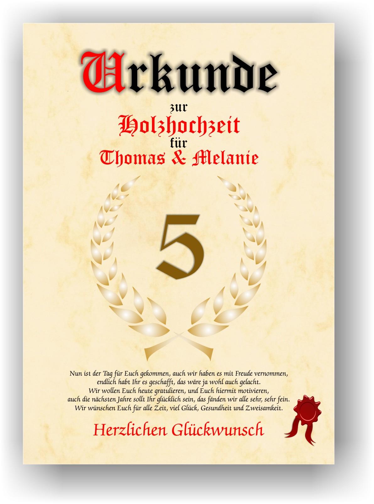 Holzhochzeit Urkunde Zum 5 Hochzeitstag Geschenkidee Zur Holzernen