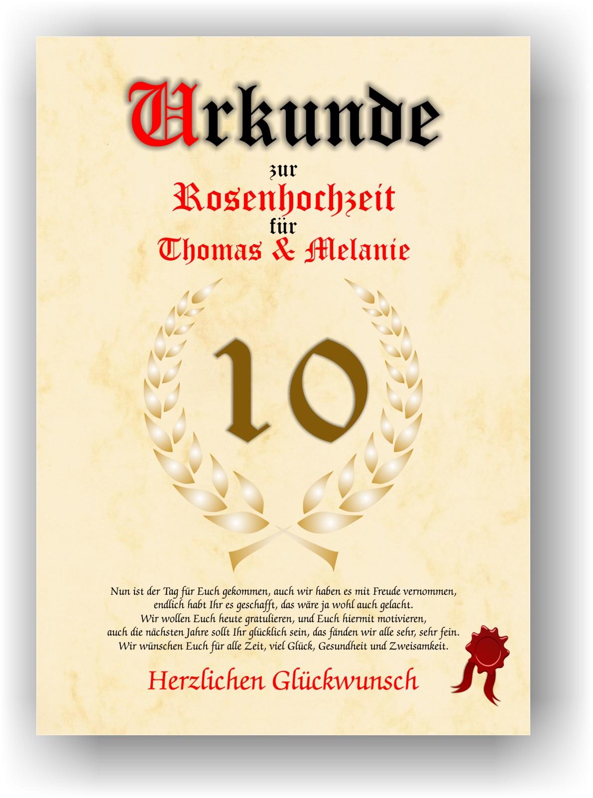 Details About Rosenhochzeit Urkunde Zum 10 Hochzeitstag Geschenkidee Zur Roden Hochzeit Neu