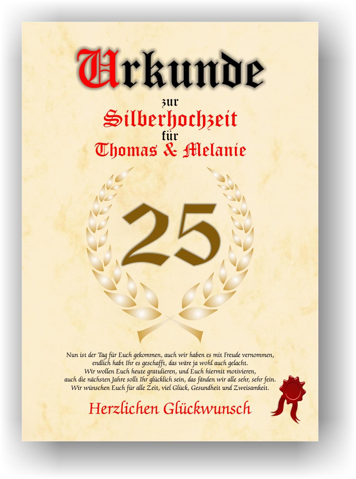 Silberhochzeit Urkunde Zum 25 Hochzeitstag Geschenkidee Silberne