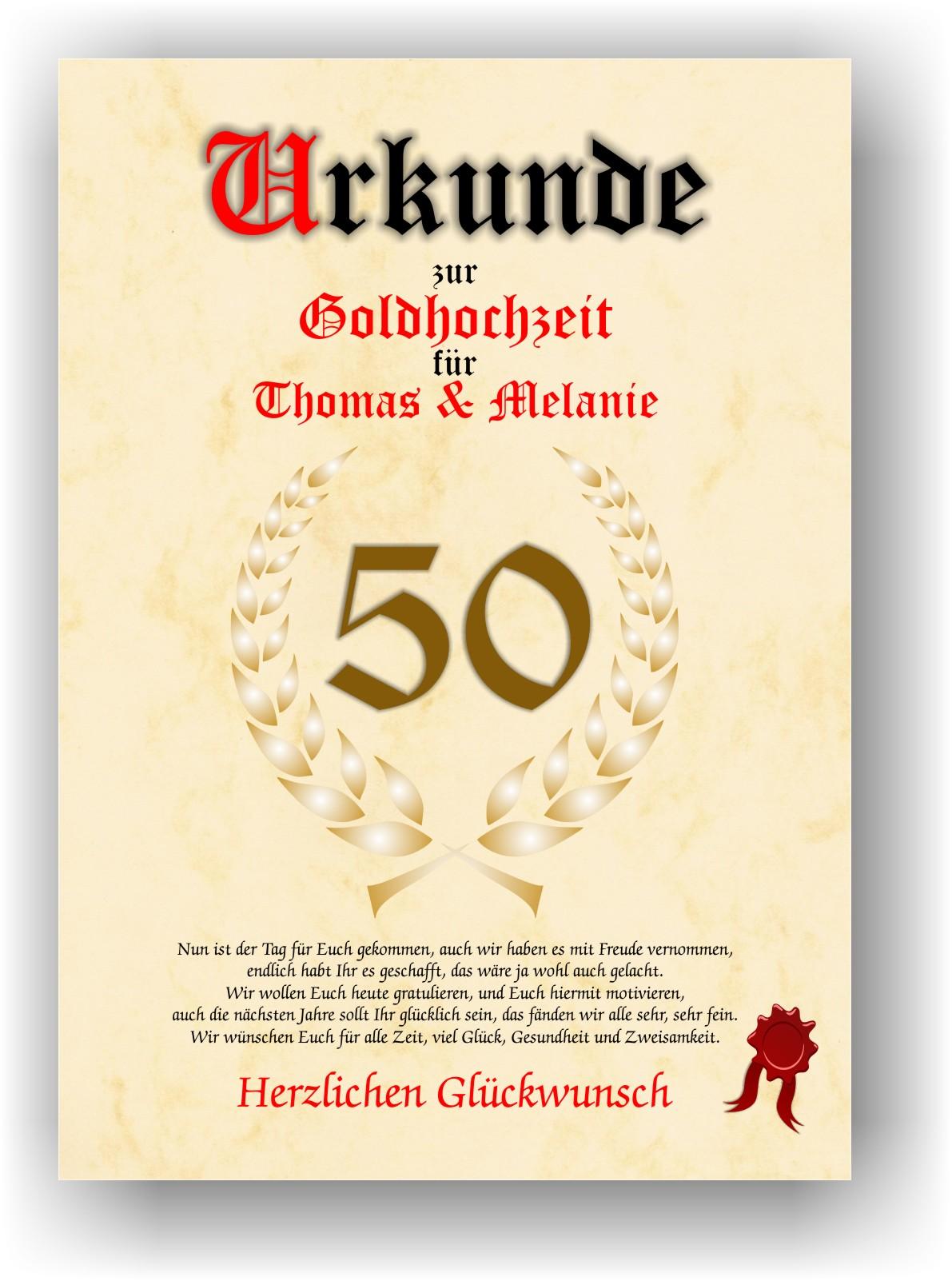 Urkunde Zum 50 Geschenk Goldene Hochzeit Hochzeitstag In