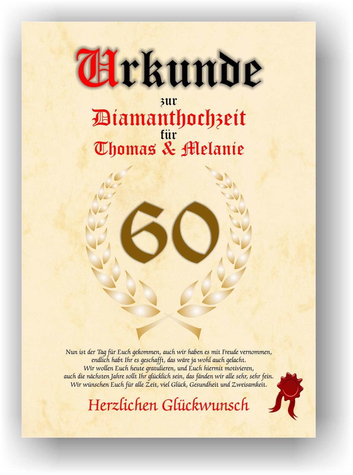 Details Zu Diamanthochzeit Urkunde Zum 60 Hochzeitstag Geschenkidee Diamant Hochzeit Neu
