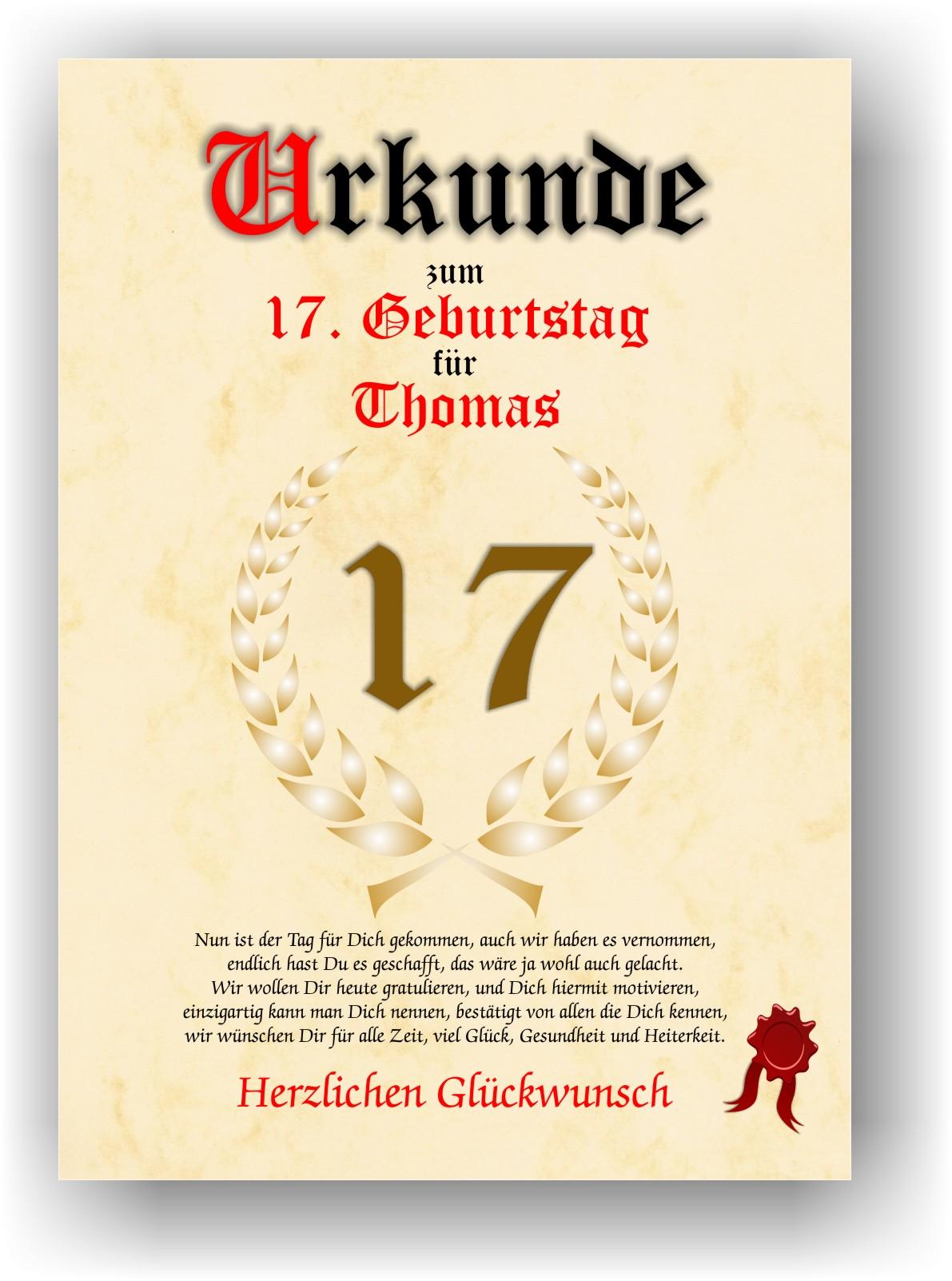 Geschenkidee Zum 17 Geburtstag Urkunde Geburtstagsurkunde