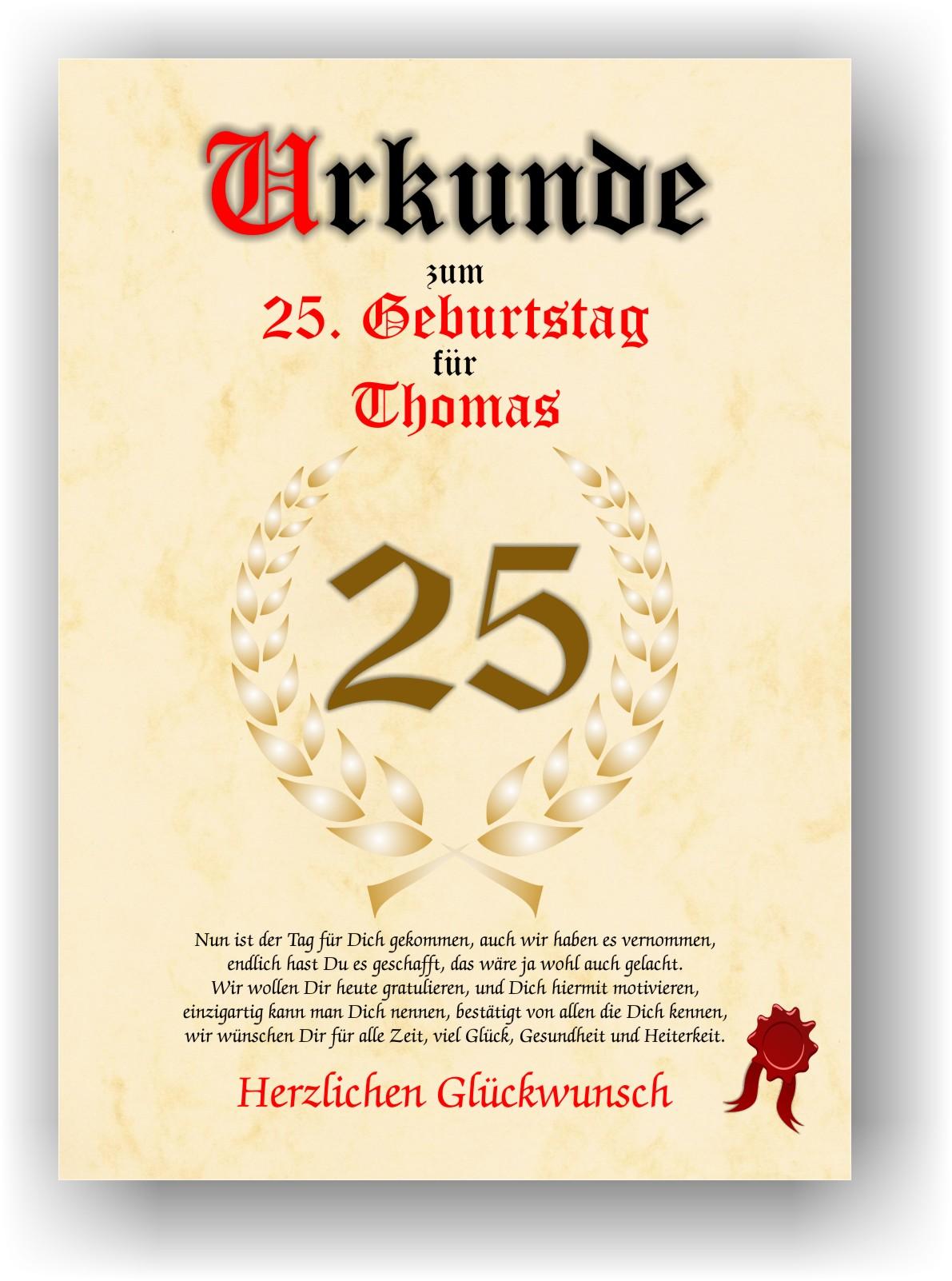 Urkunde Zum 25 Geburtstag Geschenkidee Geburtstagsurkunde