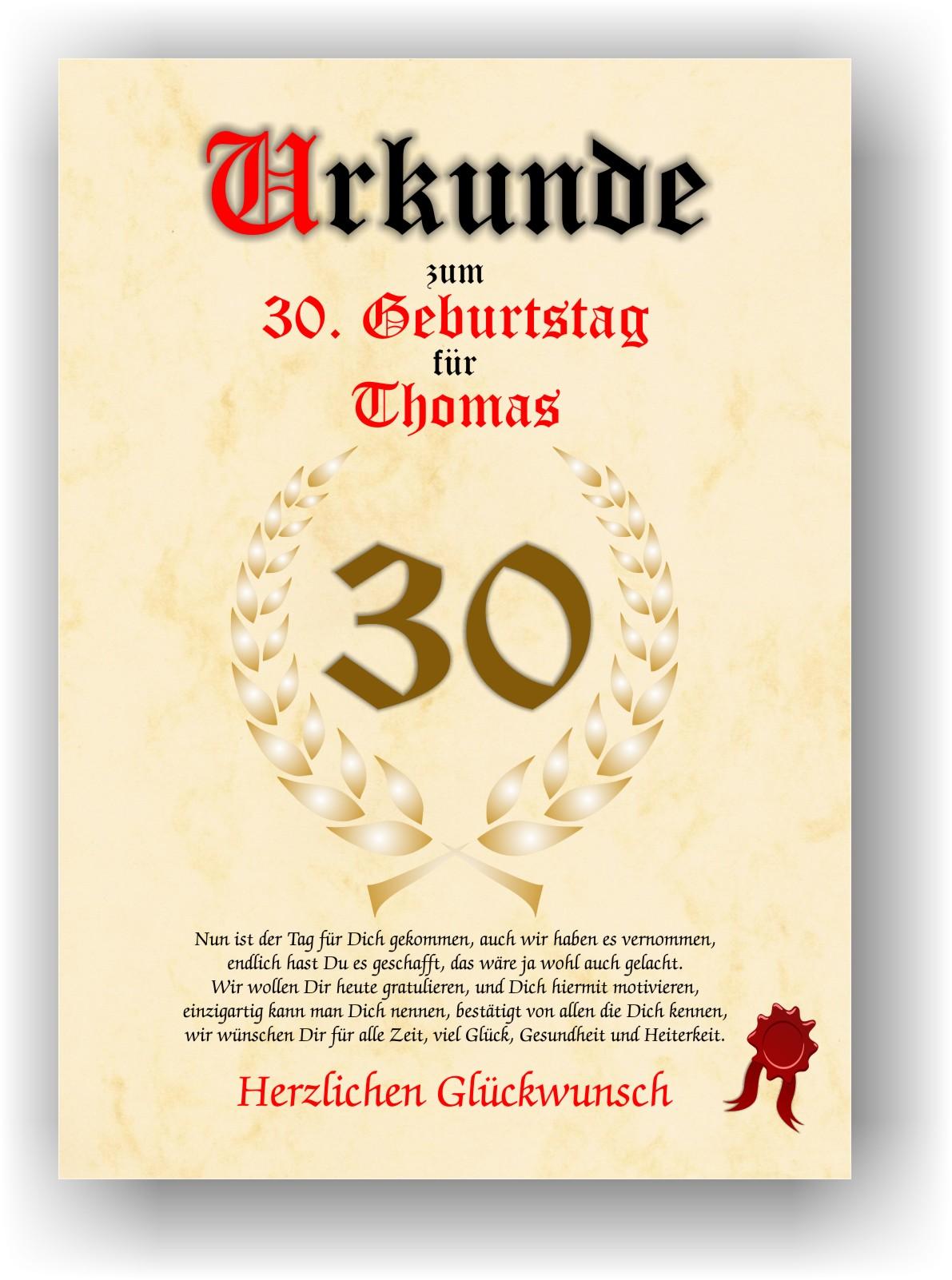 Urkunde 30. Geburtstag Geschenk Geschenkidee Spruch Namensdruck Gedicht  Party Deko Bild Mit Namen Personalisiert