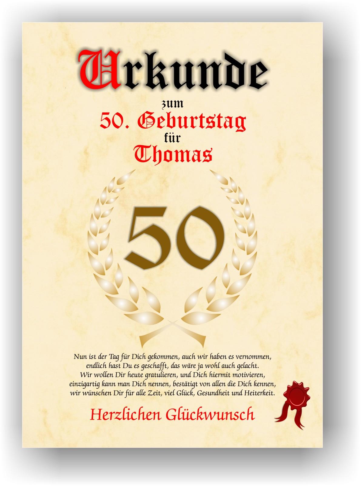 Urkunde zum 50. GEBURTSTAG Geschenkidee Geburtstagsurkunde ...