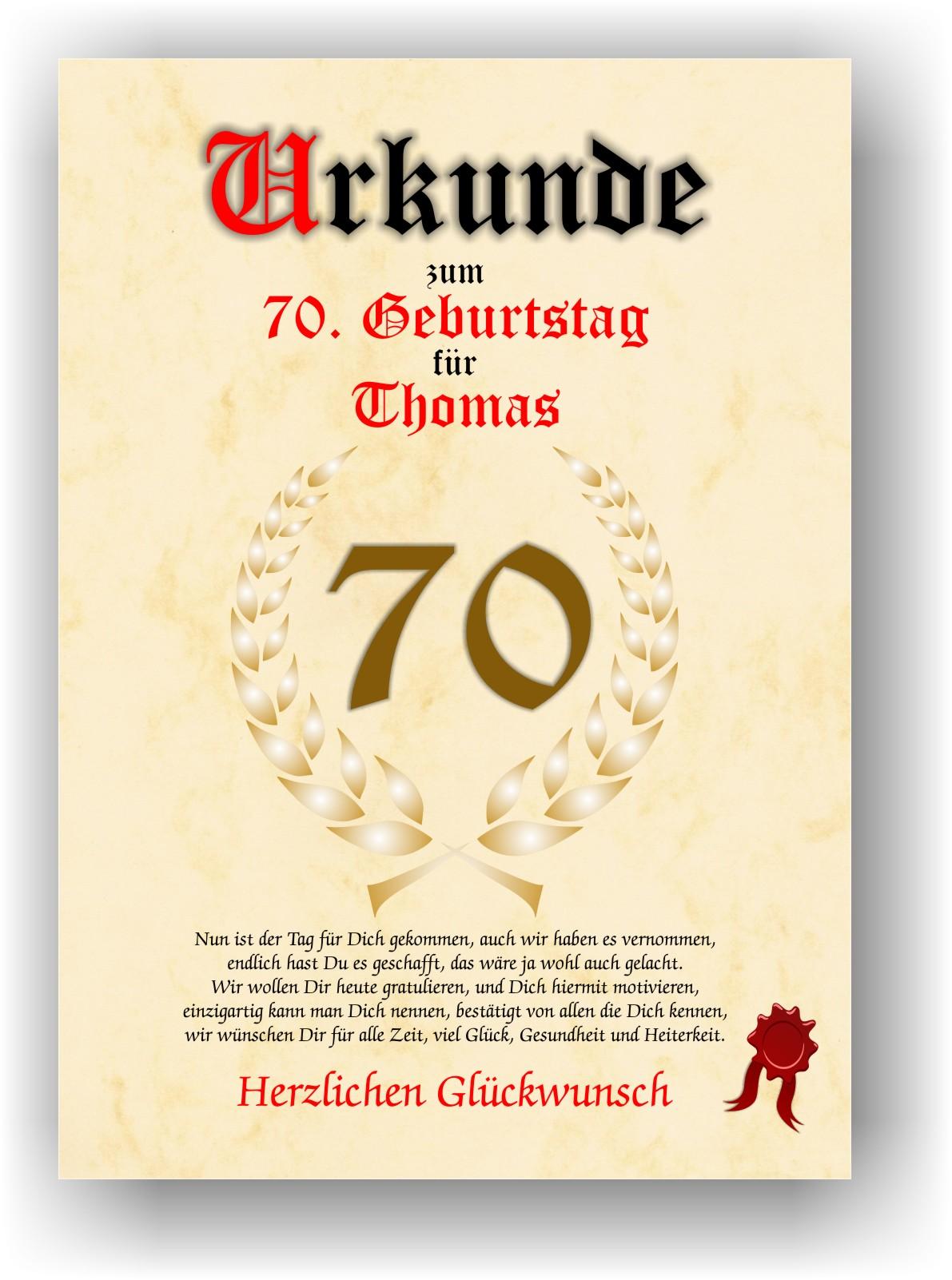 Urkunde zum 70. GEBURTSTAG Geschenkidee Geburtstagsurkunde ...