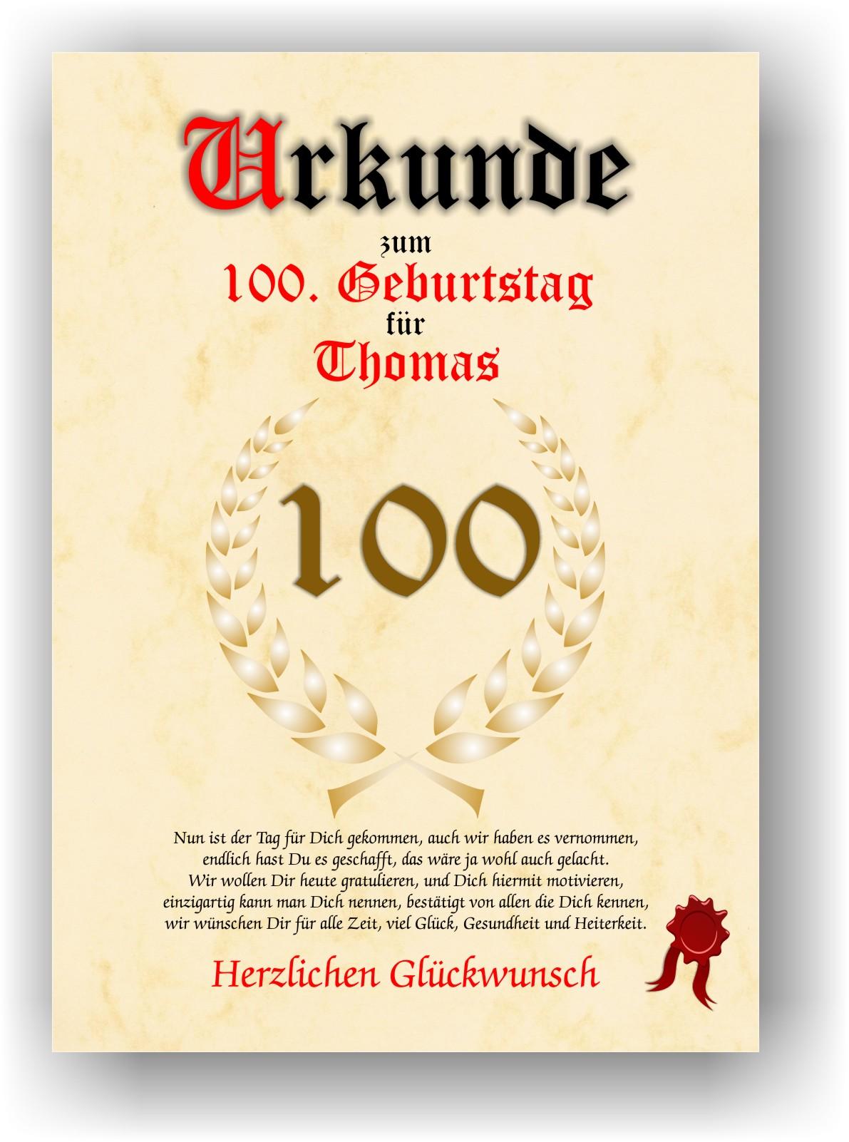 sprüche zum 100 geburtstag Urkunde zum 100. GEBURTSTAG Geschenkidee Geburtstagsurkunde mit  sprüche zum 100 geburtstag
