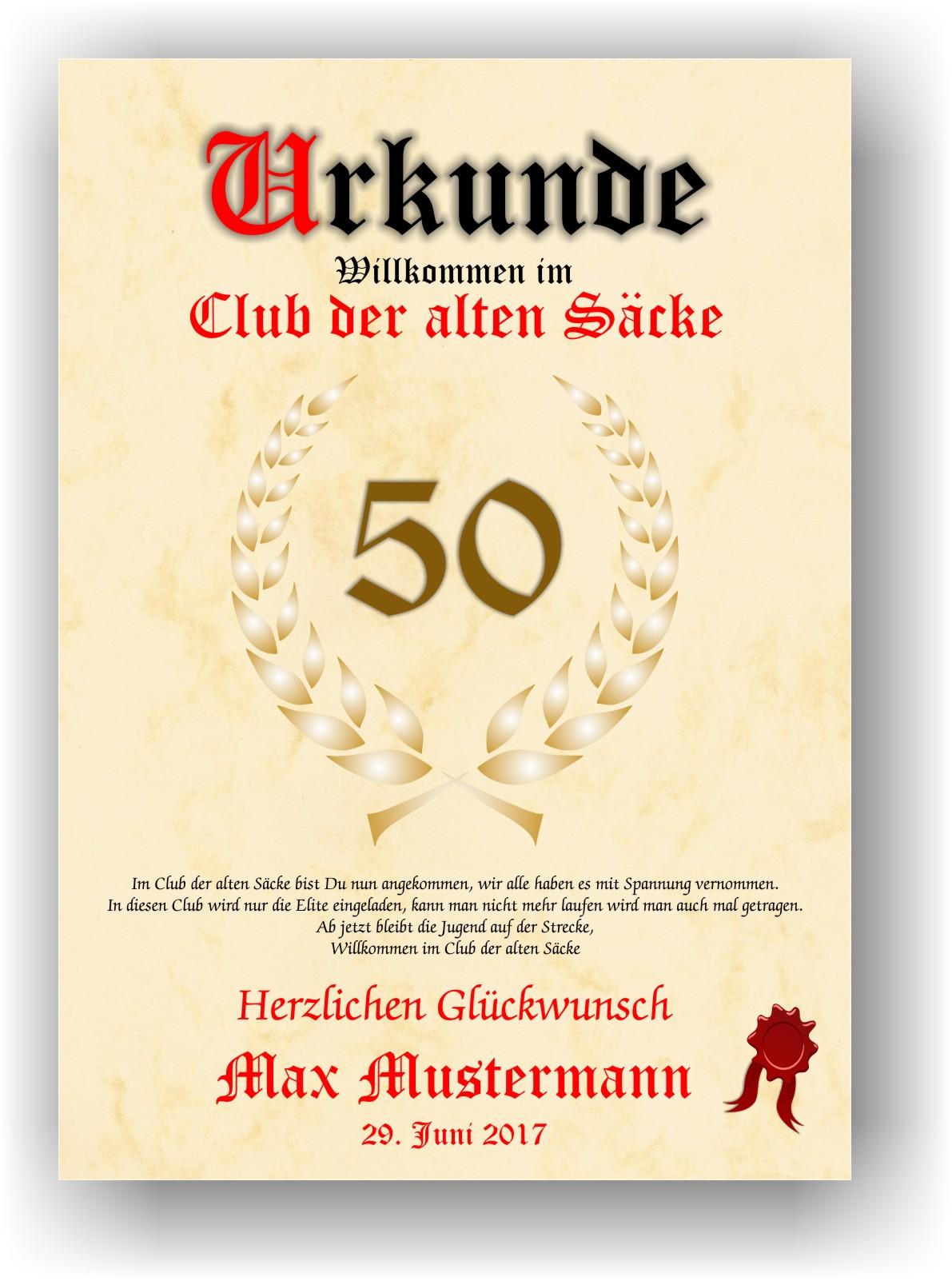 Urkunde Club Der Alten Sacke 18 20 30 40 50 60 70 Geburtstag Deko