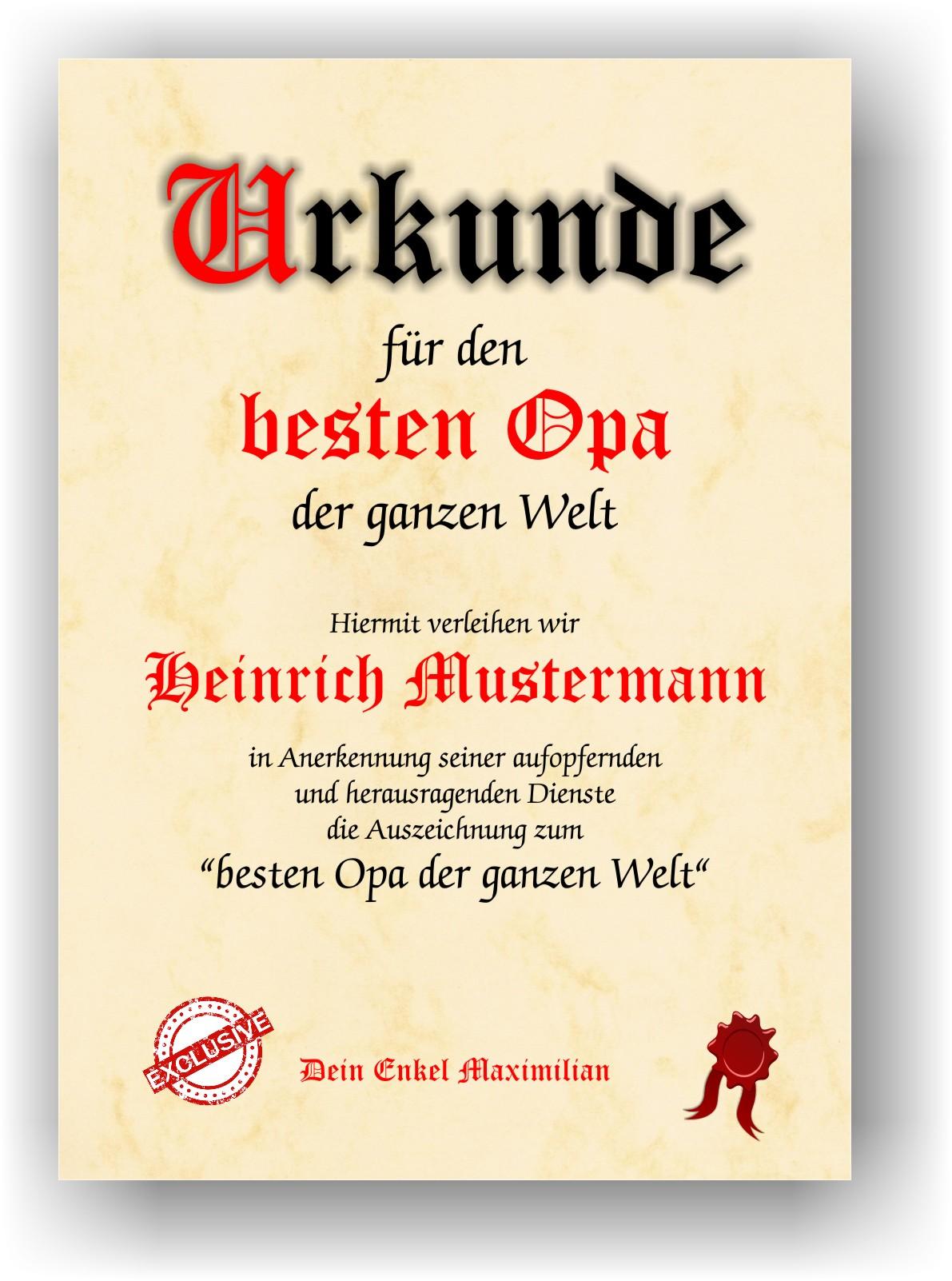 Details Zu Geschenk Für Den Besten Opa Der Welt Danke Sagen Urkunde Danksagung Geschenkidee