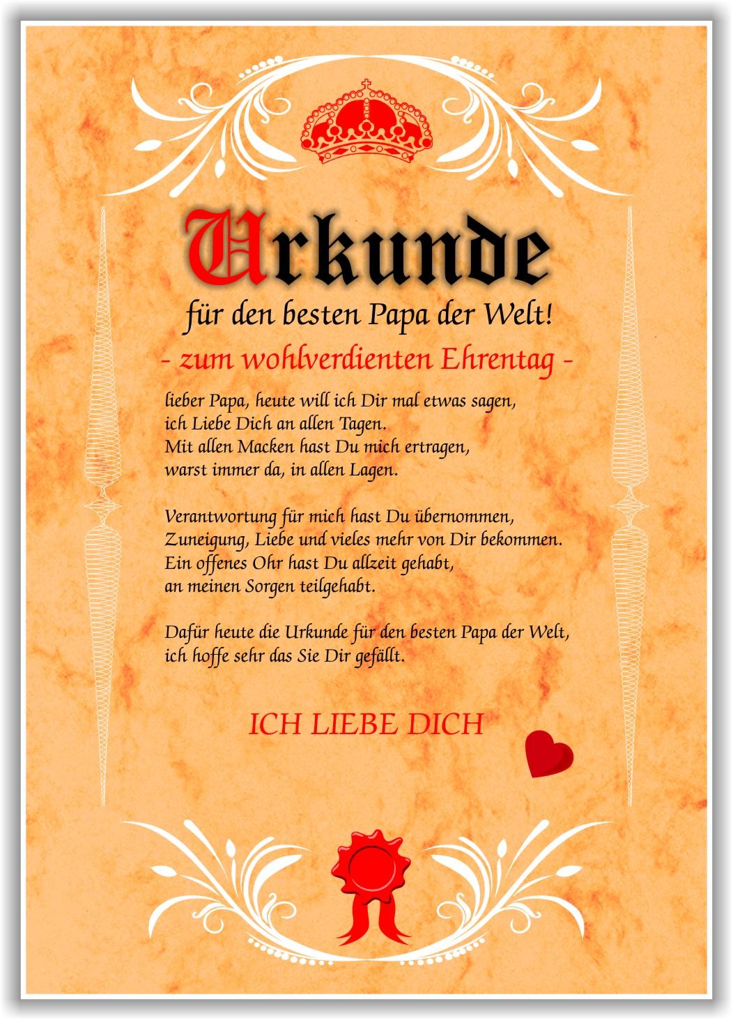 Details Zu Urkunde Bester Papa Liebeserklärung Geschenk Geburtstag Vatertag Vater Papa Neu